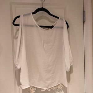 Monteau White open shoulder lace back size medium
